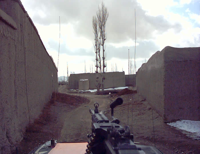 Typical View from the gun while moving through tight villages while on patrol in Paktia province.