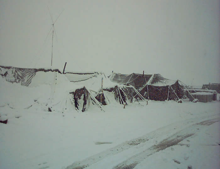 Harsh snow fall, collapses all of our tents, Camp Harriman Orgun.