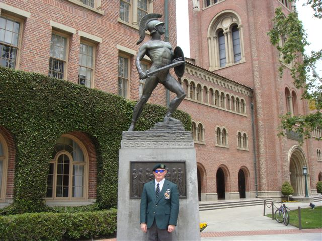 "Lonny Holmes under ""Tommy Trojan"" Universty of Southern California."