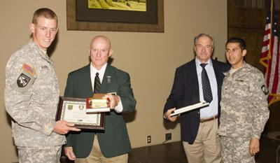 Claremont Cadet Alex Roberds, Lonny Holmes, Mike Keele, CSUSF Cadet Joel Martinez