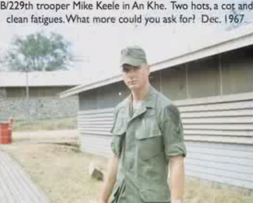 B/229th trooper Mike Keele in An Khe. Two hots, a cot and clean fatigues. What more could you ask for? Dec. 1967