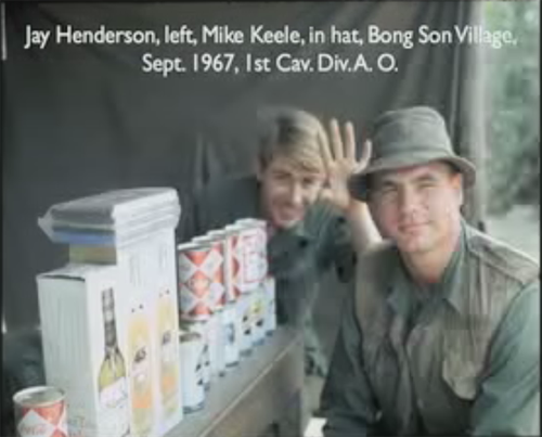 Jay Henderson, left, Mike Keele, in hat, Bong Son Village. Sept. 1967, 1st Cav. Div. A. O.