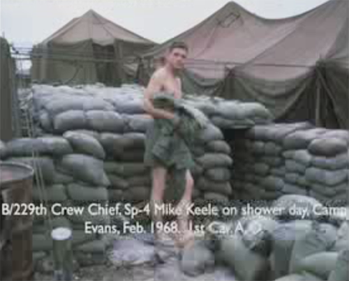 B/229th Crew Chief, Sp-4 Mike Keele on shower day, Camp Evans. Feb. 1968. 1st Cav. A.O.