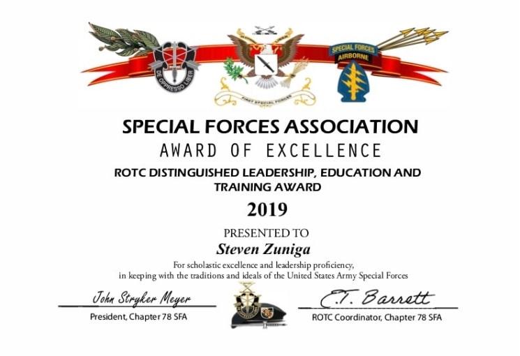 UCLA_ROTC 2019 Award Certificate